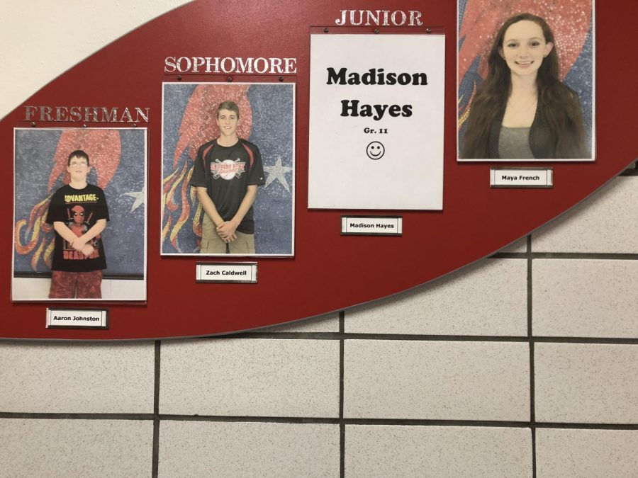 A plaque can be found outside the high school office that displays the September students of the month.
