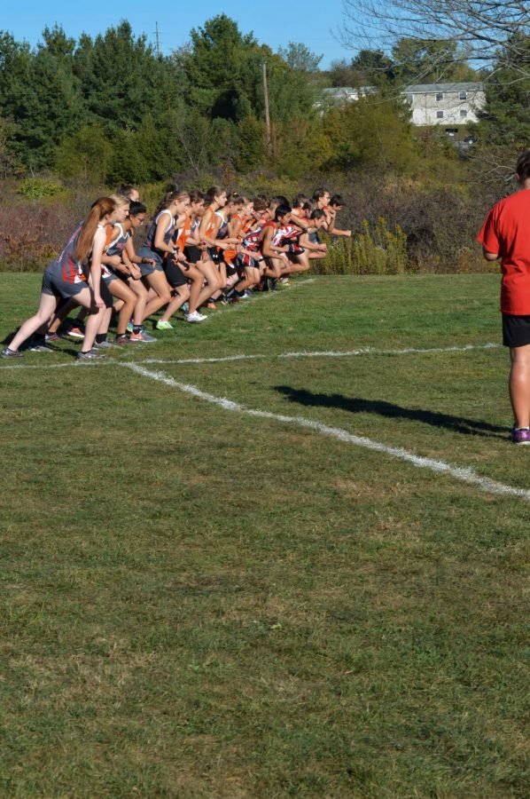 On your mark, get set, go! The boys and girls Cross Country teams line up for their home meet against Sharon.