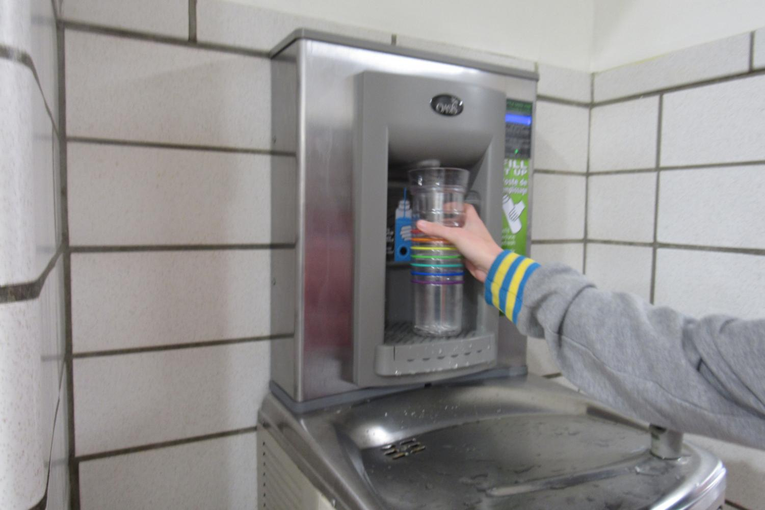 A new filtered water fountain was installed this fall by the old gym in SRHS.