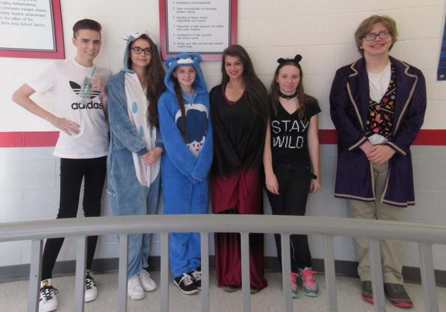 Todd Heasley, Shayna Lindey, Maya French, Destiny Oliver, Megan LaVan, and Connor Scott all participated in the Halloween-themed day for Red Ribbon Week.