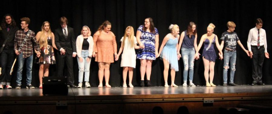 The talent show performers gathered together for one final bow at the end of the night.