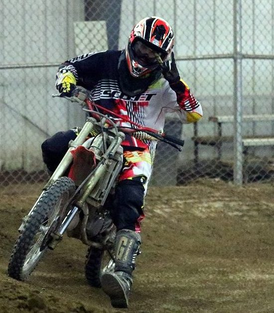 Brendan Stover races his dirtbike at Switchback Raceway.