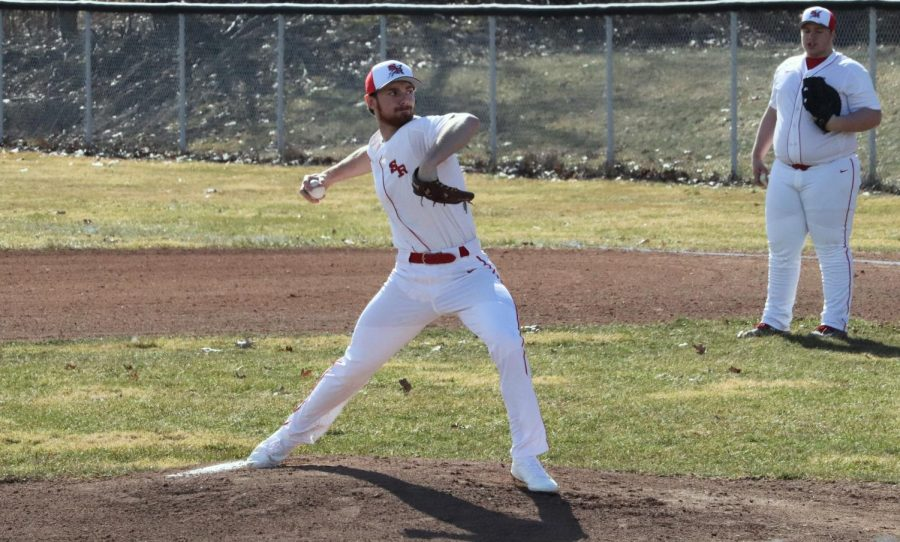Dylan Dingel pitches against Cochranton during the baseball game held on March 19th.