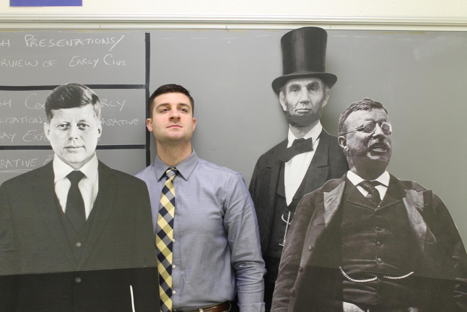 Mr. Miller stands proudly with his favorite president, TR, along with some other great leaders of our country. Miller said Roosevelt is his favorite president because of how he influenced the people of the United States.