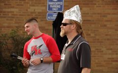 Not My Hair - Mr. Elford prepares for the rain with his stylish tin foil hat.