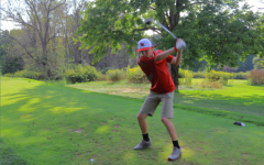 Freshman Jacob Wolak hits  the ball on the home golf course. Jacob is the second freshman out of three boys in total to advance to the PIAA golf championship.